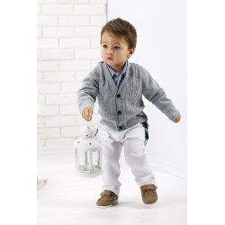 Baby Boys Gray/White Christening/Special Occasions Set Style WA002