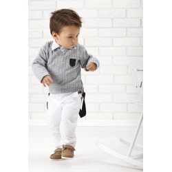 Stylish Boys Gray/White Special Occasions Outfit Style WA011