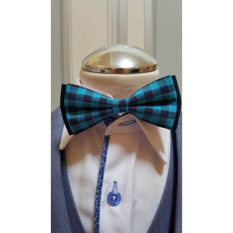 Turquoise Checkered Bow Tie and Handkerchiefs Style MC 115