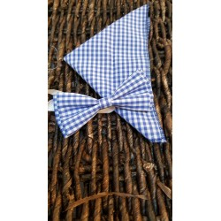 Checkered White/Blue Bow Tie and Handkerchiefs Style MC 00