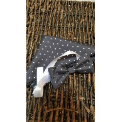 Black Bow Tie and Handkerchiefs In Silver Dots Style MC 109
