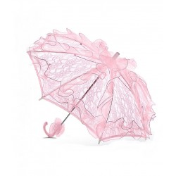 Handmade Pink Lace Flower Girl/ Bridesmaid Parasol Happy Hannah Long p06