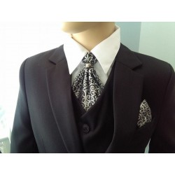 Stylish Black/Silver Cravat with Handkerchiefs c03