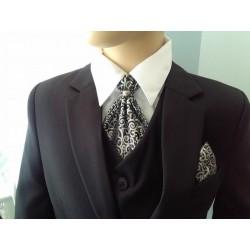 Stylish Black/Silver Cravat with Handkerchiefs c03