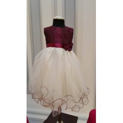 Ivory/Burgundy Flower Girls Dress Style 412