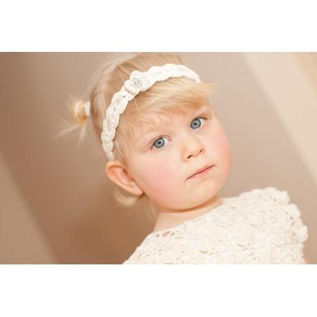 Christening Ivory Crochet Diamonds Headband Style HB04