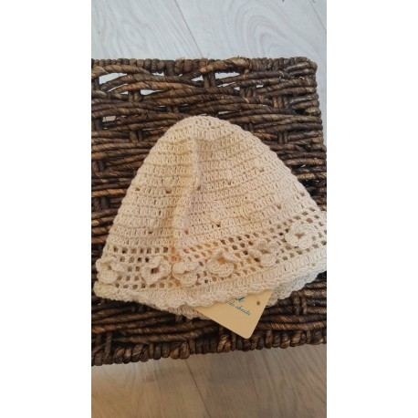 Baby Girls Christening/Special Occasions Ivory Crochet Bonnet with Flowers