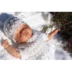 Baby Girls Christening/Special Occasions White Crochet Bonnet Sophie