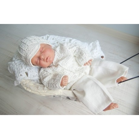 Baby Boys Handmade Crochet Ivory Christening Set Style Jacob