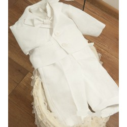 Baby Boys White Linen Christening Suit Style Marcel