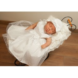 Cute Polka Dot White Christening/Birthday/Party/Special Occasion Dress style Mimi