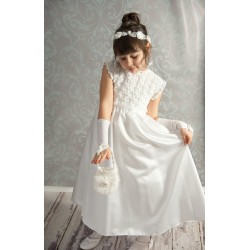 Handmade Communion Crochet Dress Style Satin Flower