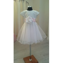 Handmade White Satin Flower Girl/Special Occasion Dress style Emi