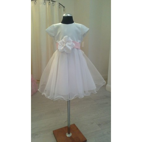 White Satin Flower Girl/Special Occasion Dress style Emi