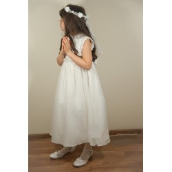 Handmade Communion Crochet Linen Dress Style Linen Flower