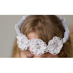 Handmade Organza First Communion Headpiece with Diamonds