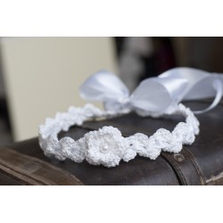 Lovely Handmade Crochet First Communion Headpiece with Pearls