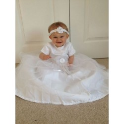 Pretty White Christening /Special Occasion Dress with Matching Headband by Little People style CH2