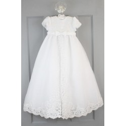 Sarah Louise Ivory Bead and Flower Christening Gown and Bonnet Style 165S
