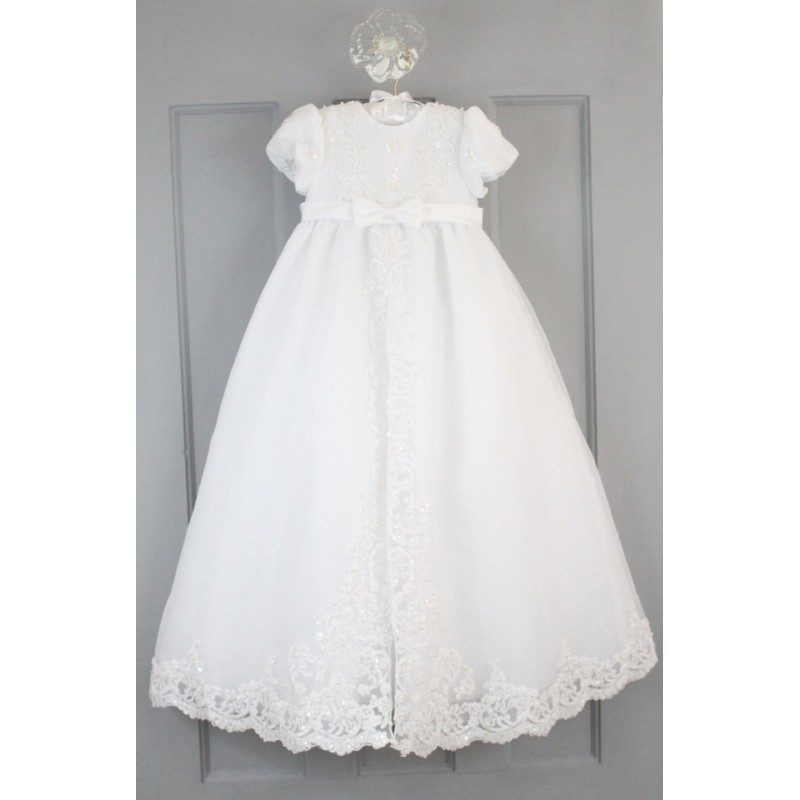 ecbbcfa73 Sarah Louise Ivory Bead and Flower Christening Gown and Bonnet Style 165S  ...
