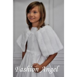 White Faux Fur Communion/Special Occasion Bolero Cape style CB03