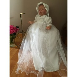 White Satin Christening Gown by Eva Rose style cr210w