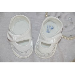 Baby Girl Satin Christening Shoes with Silver Ornaments M016