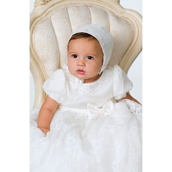 Sarah Louise Ivory Baby Christening Robe/Gown & Bonnet style 1164s
