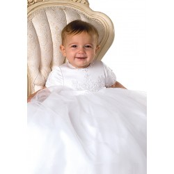 Sarah Louise White Baby Christening Gown with Bonnet style 1041s