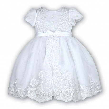 Sarah Louise White Bead and Flower Christening/Special Occasion Dress Style 070012B