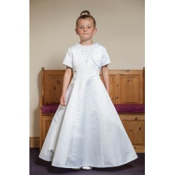 Satin A-line Communion Dress with Bolero style Ok319