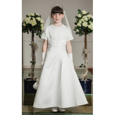 Richly Decorated Satin Communion Dress style Ok285
