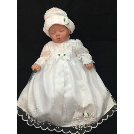 Baby Girls White Christening/Baptism Dress with Bonnet Style PCH-35
