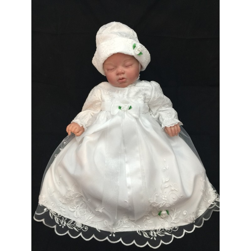 Christening Baptism Dress with Bonnet