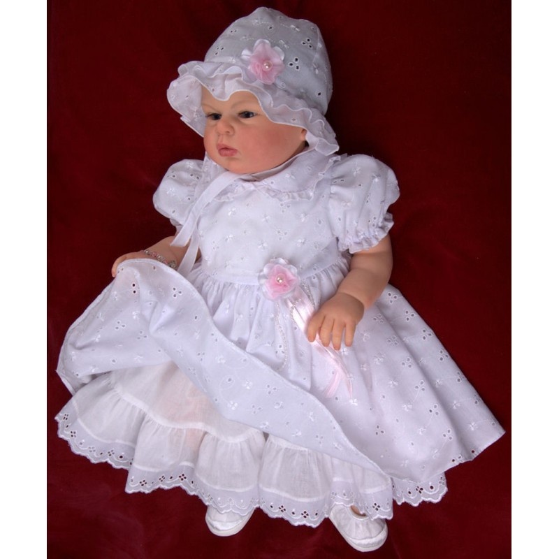 Christening White Dress with Bonnet