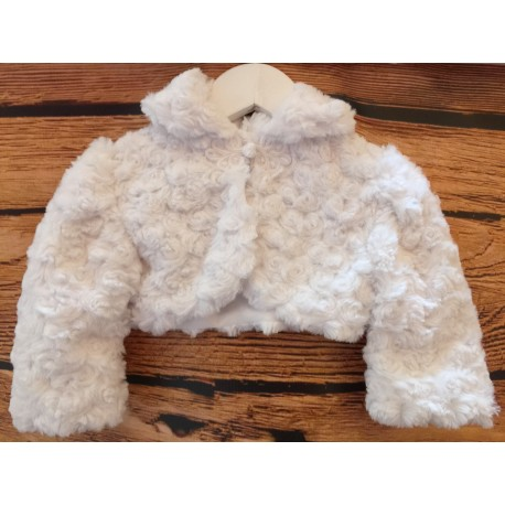 Baby Girls White Faux Fur Bolero Jacket Elsa