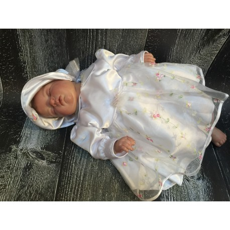 Lovely White Satin Embroidered Christening/Special Occasion Dress style Rosalia