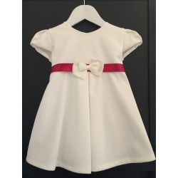 Cream Special Occasion Dress with Burgundy Sash style Dalia