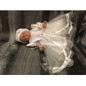 Stunning White Christening/Baptise/Special Occasion Dress with Pink Roses style Bella II