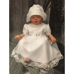Pretty Christening /Special Occasion Dress with Lace and Roses style Tina