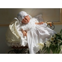 Handmade Beautiful Christening/Special Occasion Outfit for Girl style White Flower