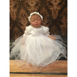 Lovely White Christening /Special Occasion Dress with Sparkling Top style Sparkle Style M101