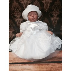 Amazing White Satin&Lace Christening/Special Occasion Dress style Marina