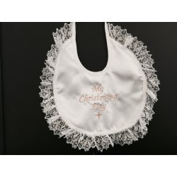 Ivory/Gold satin boys/girls bib for christening/baptism with lace .CRB01
