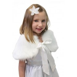 Elegant White Faux Fur Communion/Special Occasion Bolero Cape Style 1799