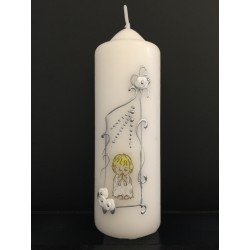 Hand Painted Baptism Candle Model ChR5