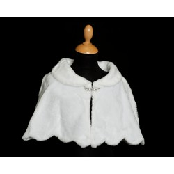 White Faux Fur Communion/Special Occasion Bolero Cape Style 4583