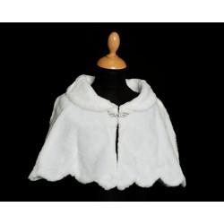 White Faux Fur Communion/Special Occasion Bolero Cape Style 4583