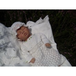 White Crochet Christening/Special Occasion Dress with Hat and Shoes style Gabi
