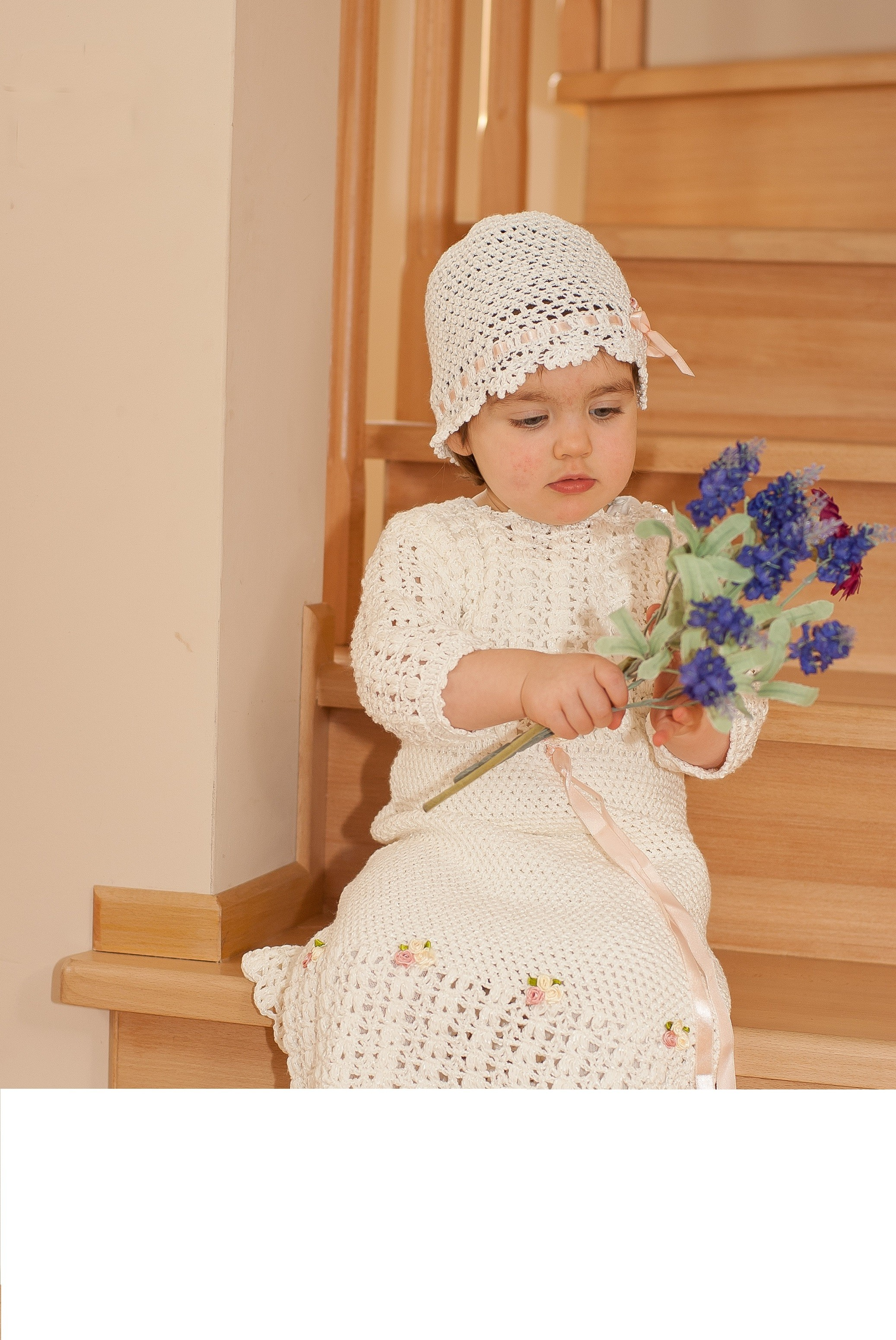 Beautiful Handmade Crochet Christening Special Occasion Baby Girl Outfit